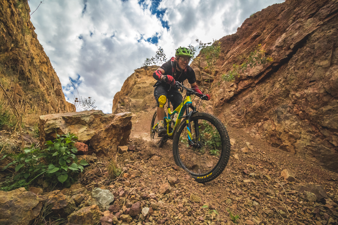Darol Howes riding down Roma's V enduro trail during the kingdom enduro recce