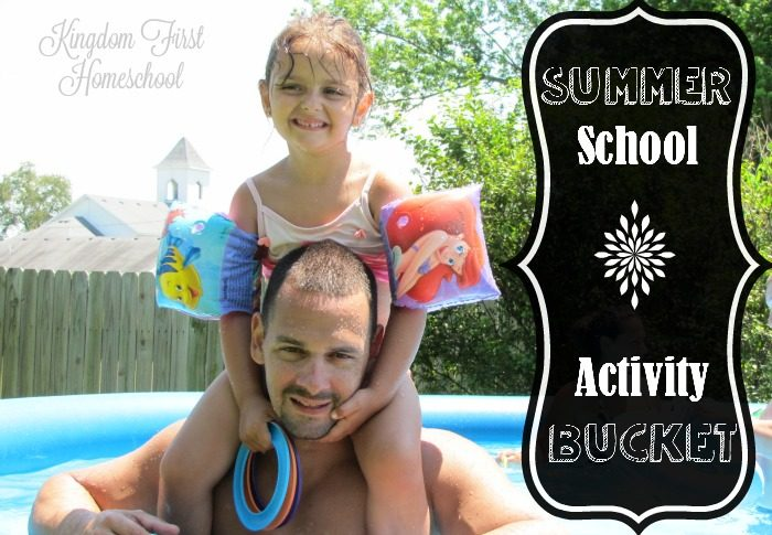 If you are anything like me you want to continue laid back learning throughout the summer break, but don't want to have to take the time to plan it! Well here's an idea -- Summer School Activity Bucket. Check it out!