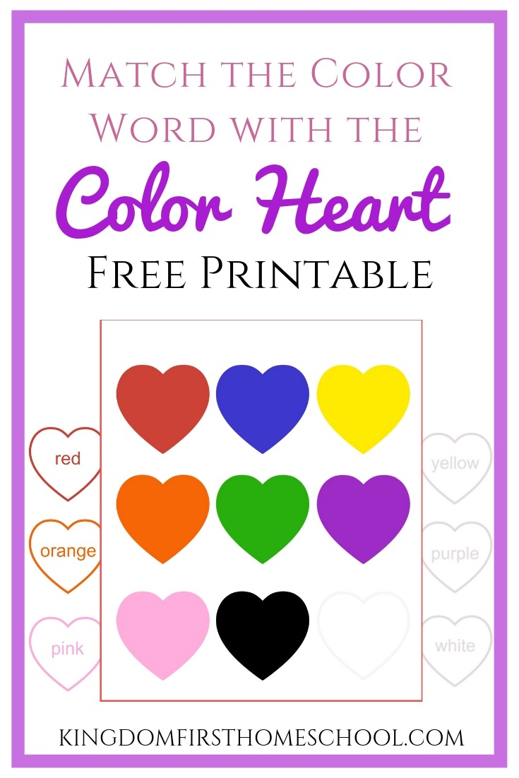 Use this free heart match printable for your kiddos to learn the color sight words in a fun, simple and easy way.