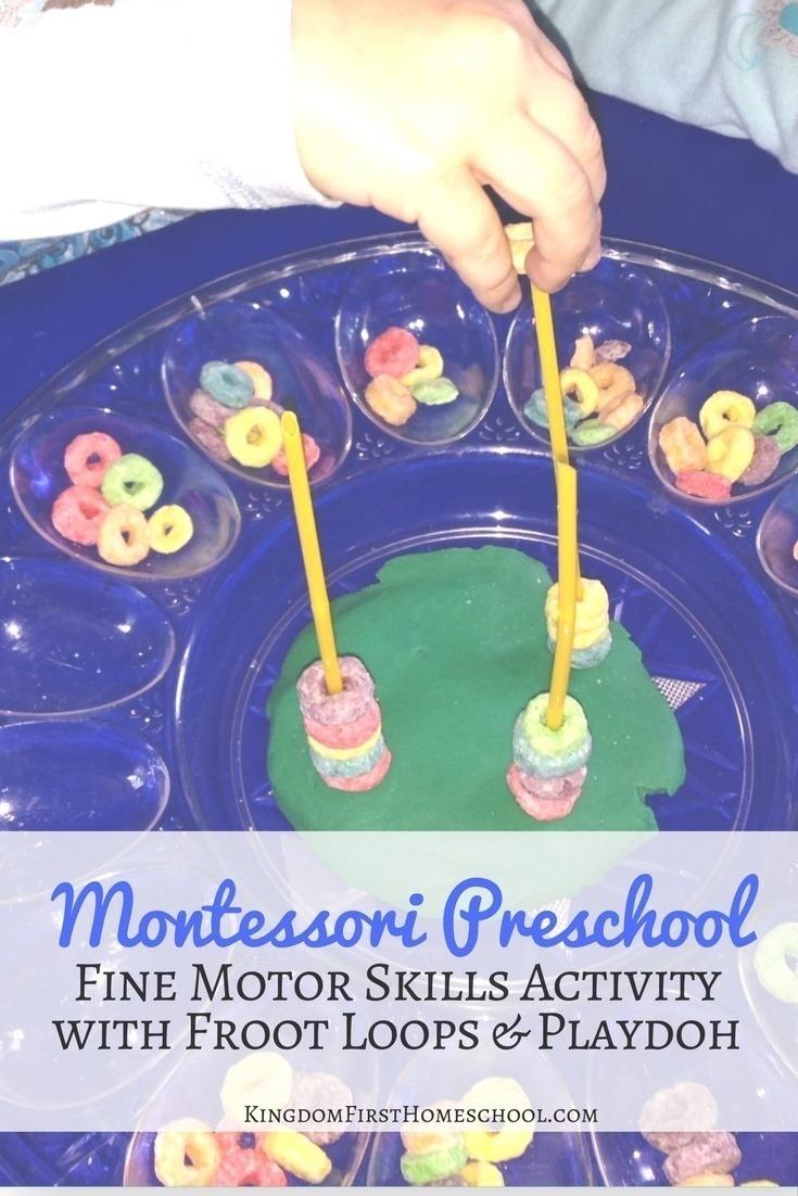 Montessori preschool froot loops and playdoh activity for Montessori fine motor skills