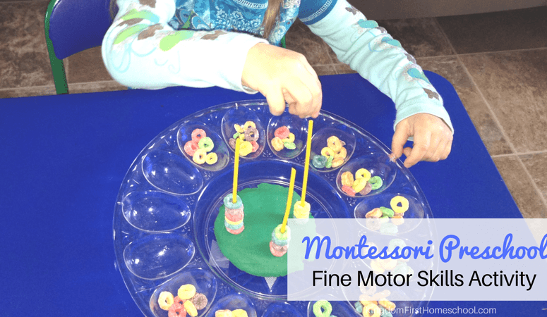 Montessori Preschool Froot Loops and Playdoh Activity