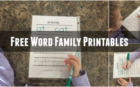 Free Word Family Printables
