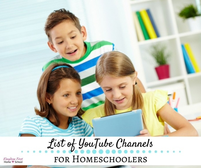 List of YouTube Channels for Homeschoolers