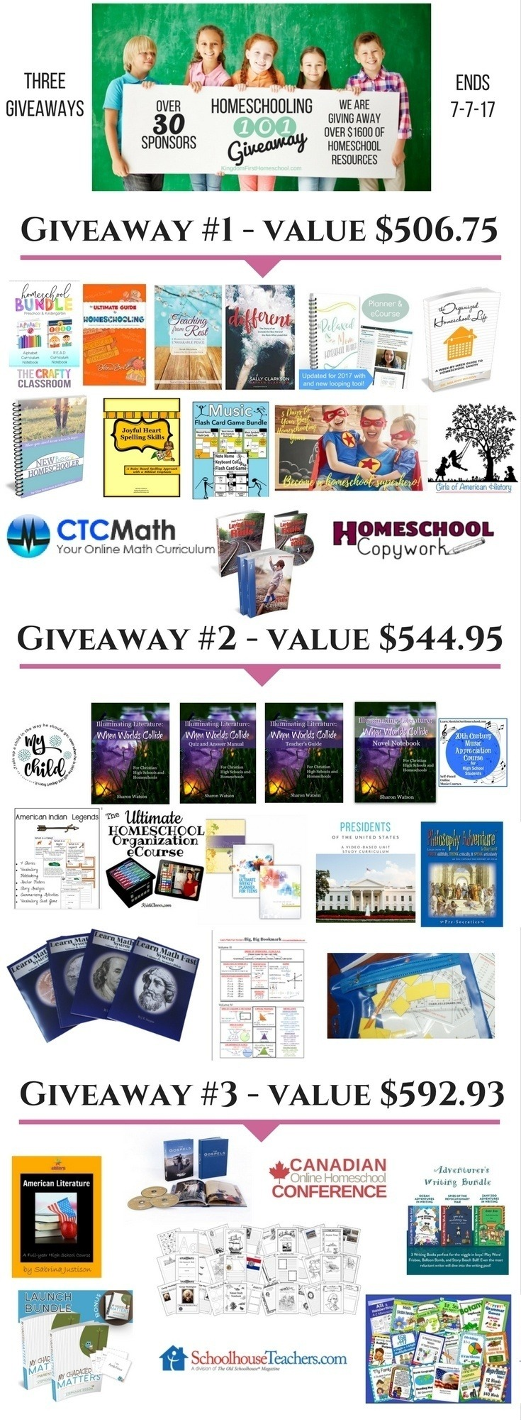 We are giving away over $1600 in homeschooling resources!