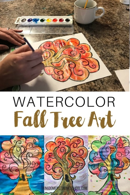 Looking for a cute, quick and easy fall art project to do with your kids? Try this Fall tree watercolor art project.