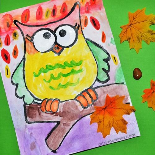 Fall Owl Watercolor Art