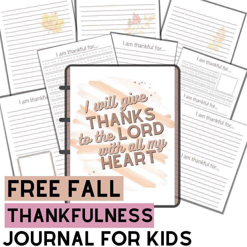 Free Thankfulness Journal for Kids
