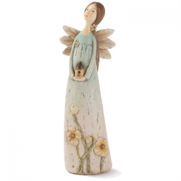 Figurines : Angel Resin 8in Blue Angel/Birdhouse Pack of 2
