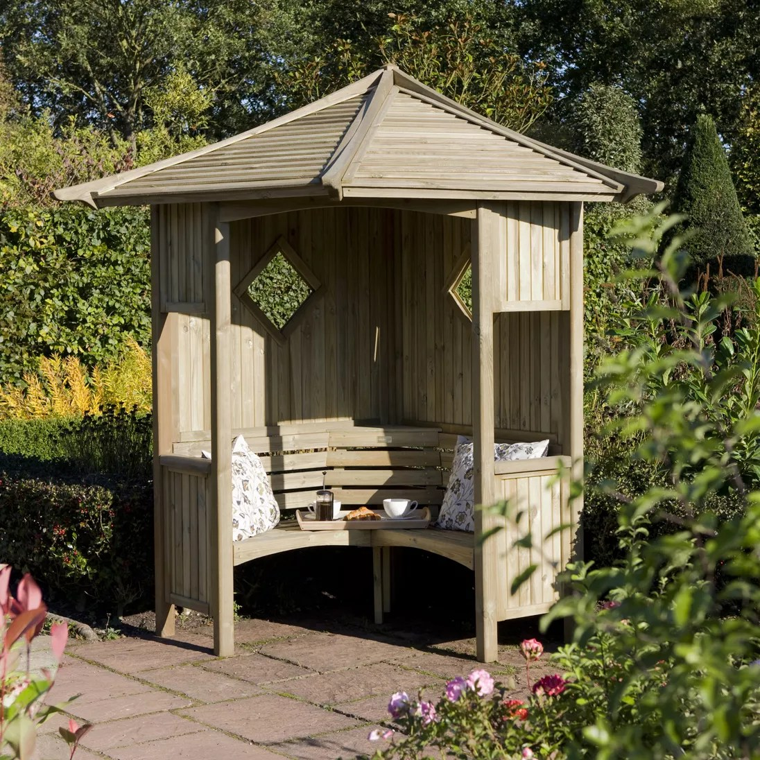 Blooma Softwood Corner Arbour Departments DIY At BampQ