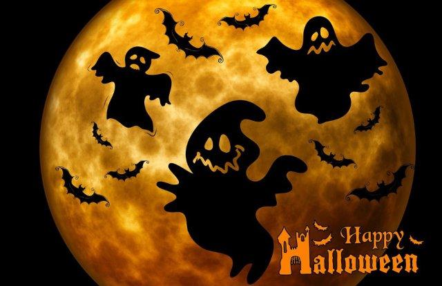 Happy Halloween Ghosts in Orange Moon