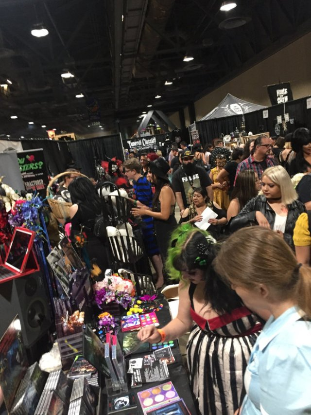 Halloween convention vendors and crowd