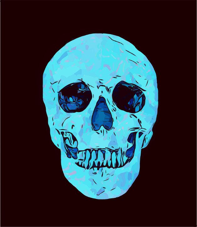 Teal color skull