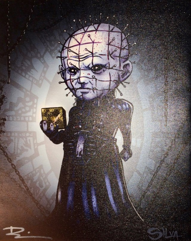 Pinhead Hellraiser Canvas Painting Signed by Artist
