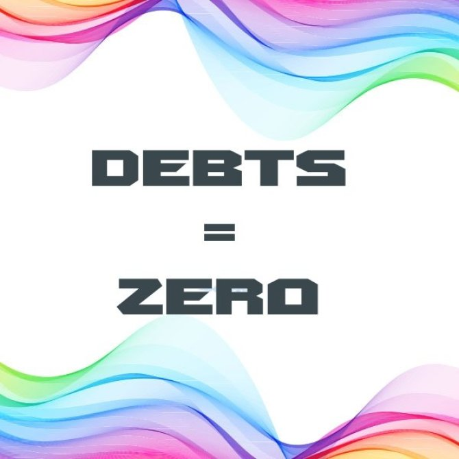 Picture showing debts equal zero