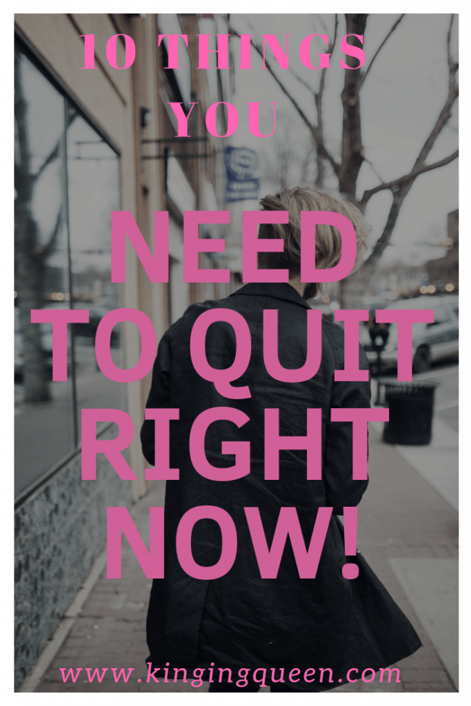 Picture with inscription 10 things you need to quit right now