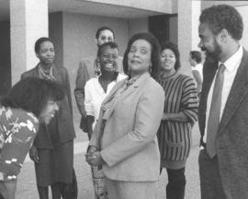Mrs. Coretta Scott King with staff of King Papers Project, 1986