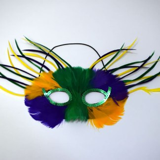 Wispy Feathered Mardi Gras Mask