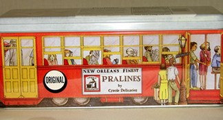 Original pralines in streetcar tin