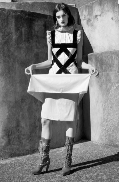Dress - G.Y Kimchoe | Boots - Antonio Ortega