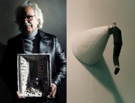 "(left) Art works: ""PENSIERINI"", 2010 | Leather jacket - Hosio | Turtleneck - Obvious Basic | (right) Art works: ""QUELLO che GUARDAVA lontano"", 2010"