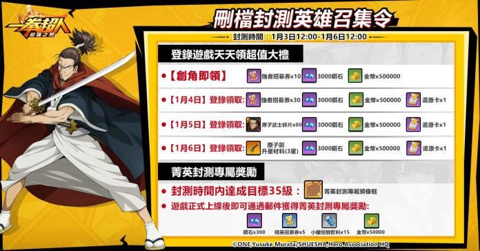 GAMENOW新聞稿用圖02】《一拳超人:最強之男》繁中版菁英封測登錄、專屬獎勵等你來拿!