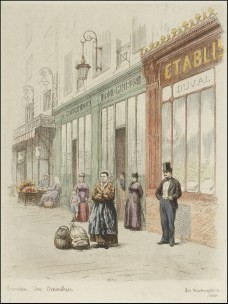 Hand-coloured etchings of 1870s street scenes in Paris by A.-P Martial