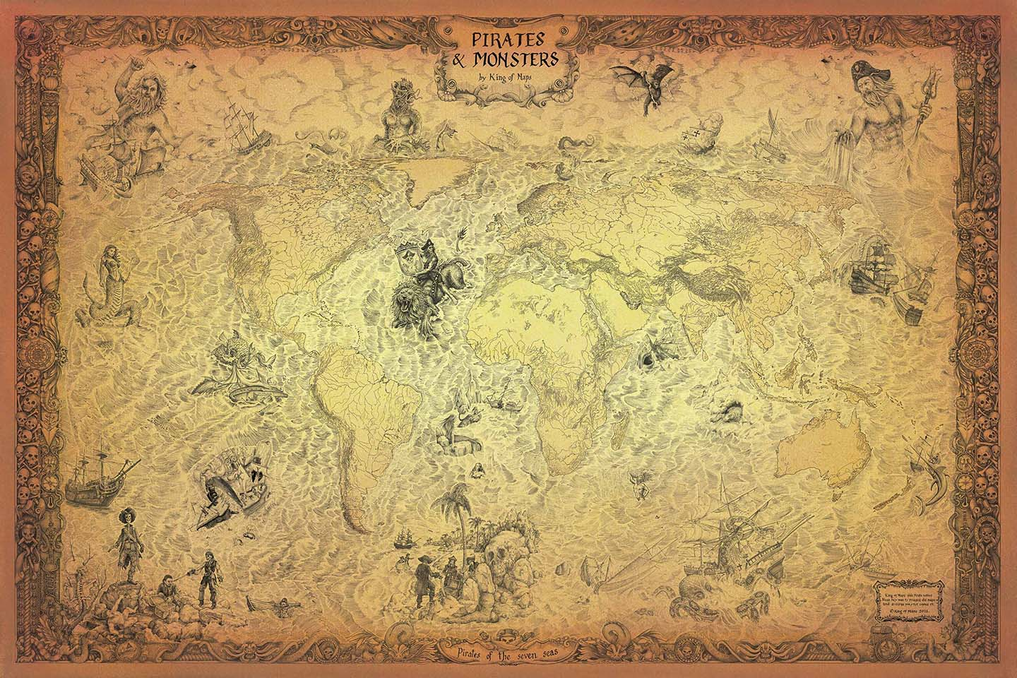 Pirate World Map.Pirates Monsters King Of Maps