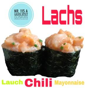115-A Lachs Spicy Gunkan frischer Lachs, Lauch,  Chili & Mayonnaise