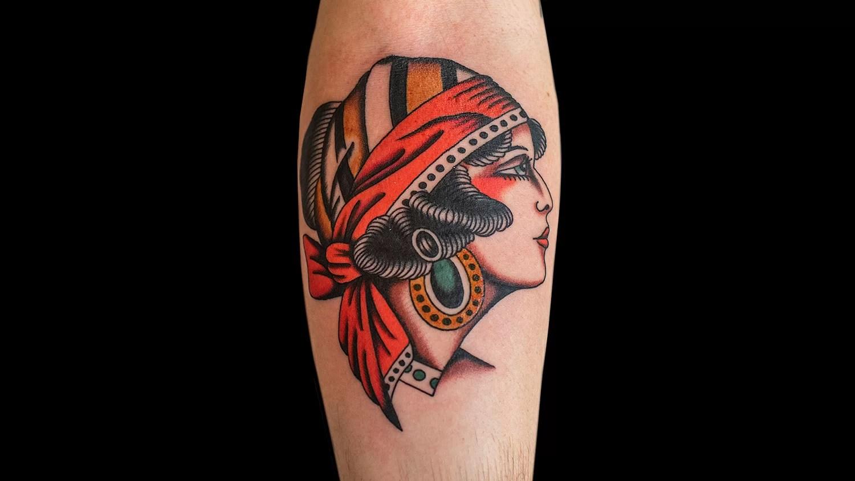 Girlhead tattoo by Chris Fernandez