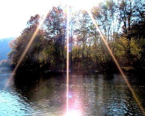 Sunburst Over River