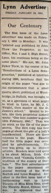 1940 Jan 24th Lynn Advertiser Centanary