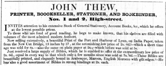 1842 Jan 11th John Thew @ 1 & 2