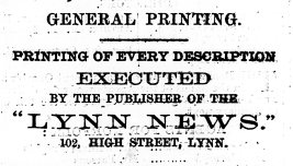 1869 Jan 9th Lynn News
