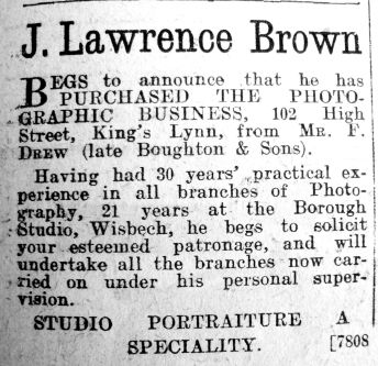 1922 June 23rd J Lawrence Brown succeeds F Drew