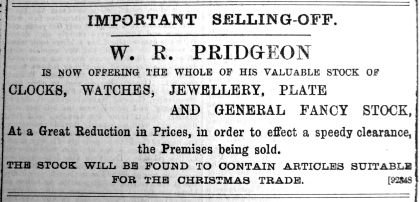 1899 Dec 22nd W R Pridgeon selling off
