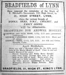 1924 Apr 18th Bradfields selling Mitchells stock
