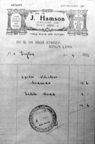 1935 Sept 5th J. Hamson