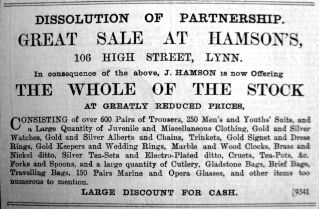 1903 Apr 3rd Hamsons sell up