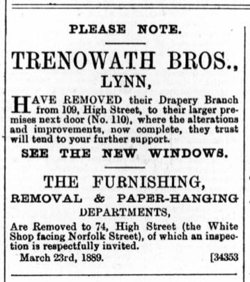 1889 March 30th Trenowath Bros @ 109 & 110 also 74