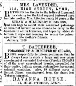 1866 Jan 27th T Batterbee @ No 11