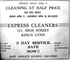 1958 April 8th Express Cleaners opens