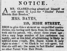 1881 26th March Mrs Bayes