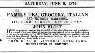 1874 June 6th John Blott @ 114