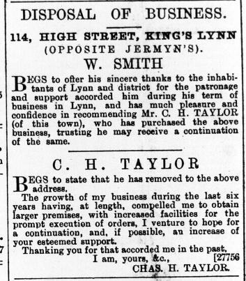 1887 November 5th C H Taylor ex W Smith @ No 114
