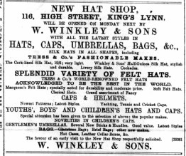 1890 March 29th W Winkleys new hat shop @ No 116
