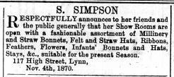 1870 Nov 19th S Simpson @ No 117