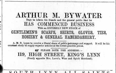 1869 Oct 2nd Arthur M Bywater @ No 119