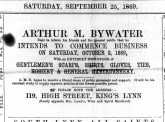 1869 Sept 25th Arthur M Bywater @ No 119