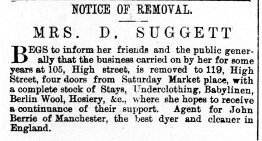 1877 13th Sept Mrs D Suggett moves from 105 to 119