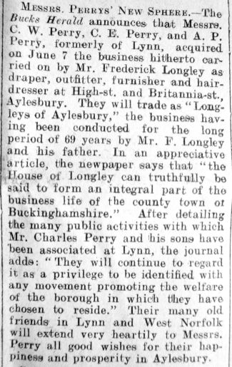 1928 June 22nd C W Perry moves to Aylesbury